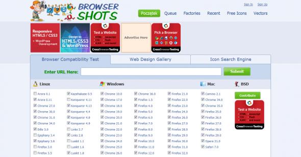 Ekran wyboru przeglądarek w serwisie Browser Shots