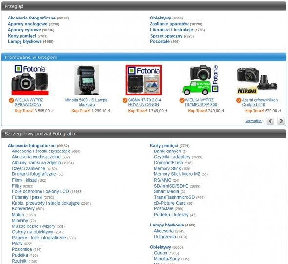 Strona Allegro wyboru podkategorii