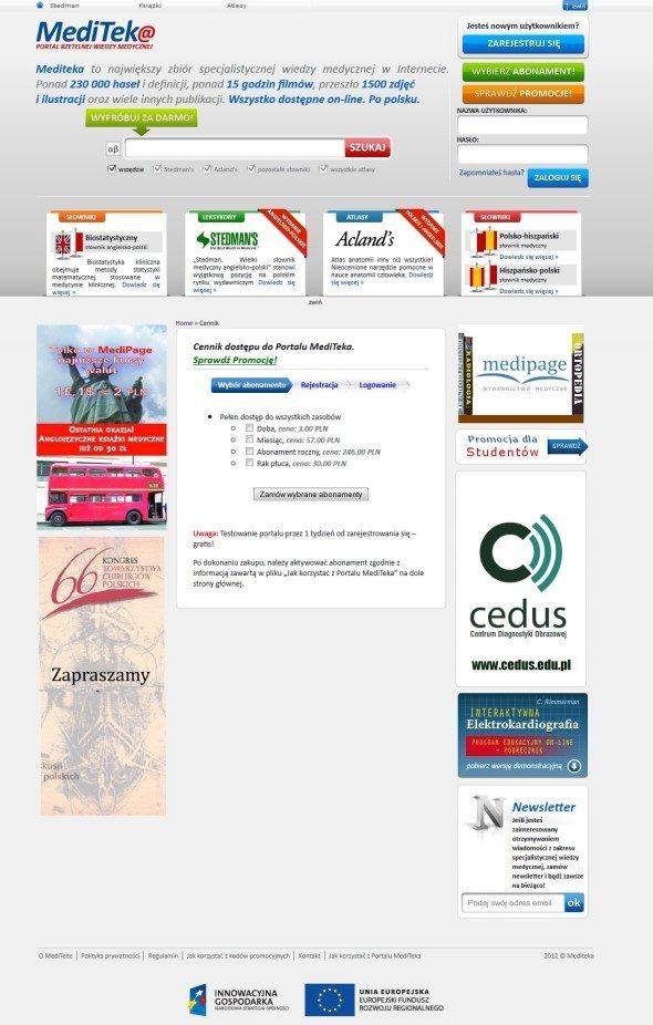 Przykład strony sprzedażowej mediteka.pl wypełnionej mnóstwem odciągaczy uwagi