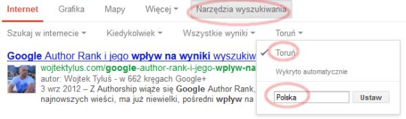 Zmiana lokalizacji wyszukań Google