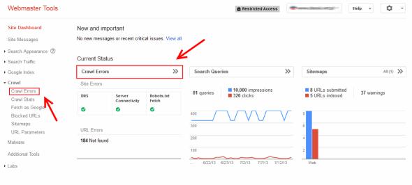 Gdzie znaleźć informacje o martwych linkach w Google Webmaster Tools