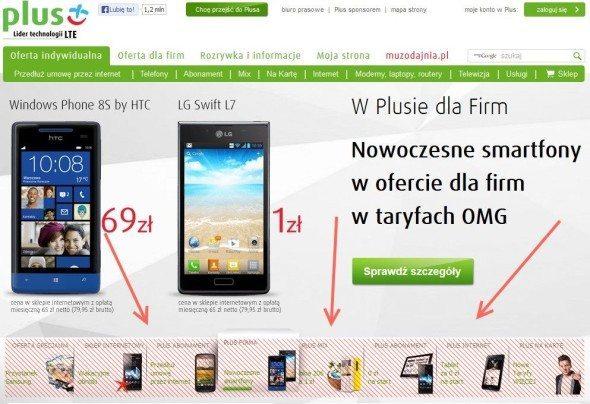 Przyciski do zmiany slajdów na stronie Plus GSM