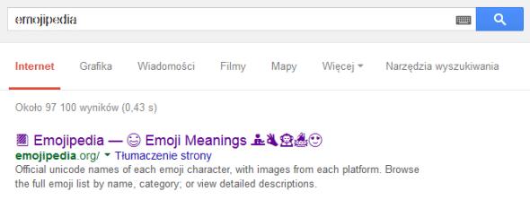Wyniki wyszukiwania w Google dla hasła emojipedia
