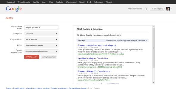 Ustawienia powiadomień Alertów Google