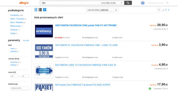 Oferty sprzedaży Fanów profilu na Facebooka w serwisie Allegro.pl
