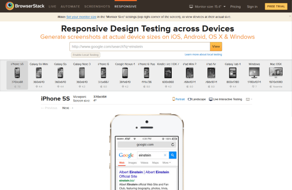 Browser Stack - przeglądarki mobilne