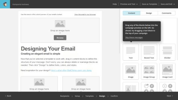 """Edytor """"przeciągnij i upuść"""" w MailChimp"""