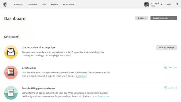 Strona główna panelu administracyjnego MailChimp
