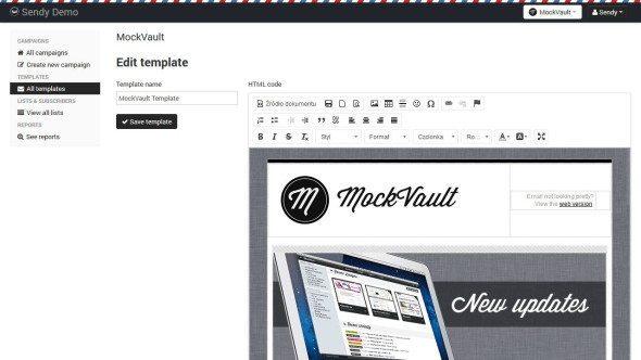 Edytor emaili HTML w Sendy