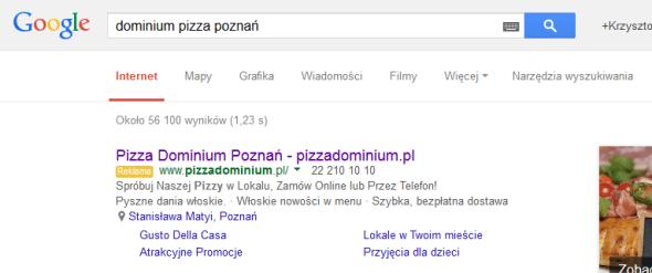 Link do mapy Google oraz numer telefonu w reklamie AdWords