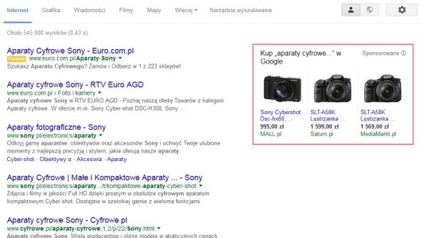 Zakupy Google na stronie wyników wyszukania
