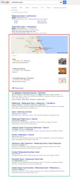 Strona wyników lokalnych Google