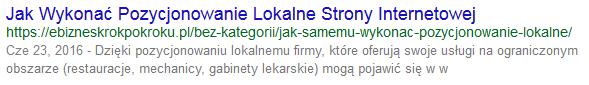 Typowy wpis w Google